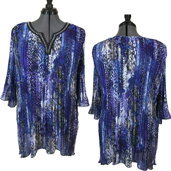 e71a06ad70ca9 Catherines Tops - Plus size pleated beaded blouse 3XL